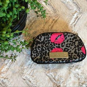 Betsey Johnson Travel Makeup Bag Pink Grey